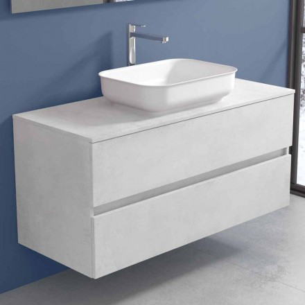 Suspended Bathroom Furniture with Design Washbasin in 4 Finishes - Paoletto