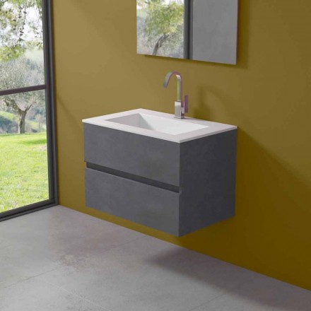 Suspension Cabinet for Bathroom with Integrated Washbasin in 3 Dimensions - Marione