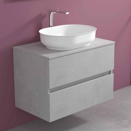 Suspended Bathroom Furniture with Oval Washbasin, Modern Design - Cesiro