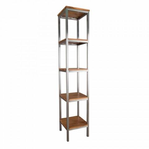 Column Bathroom Cabinet in Teak and Steel with 4 Open Shelves - Tamburino