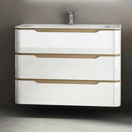 Arya modern wooden bathroom vanity with 3 drawers, made in Italy