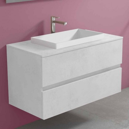 Suspended Bathroom Cabinet with Built-in Washbasin, Modern Design - Casimira