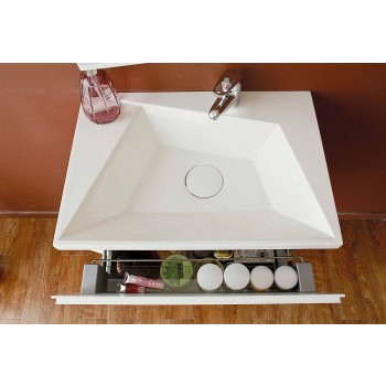 Bathroom cabinet with sink and mirror, modern design in white wood and resin - Fausta