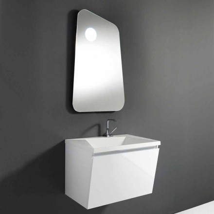 Bathroom cabinet with sink and designer mirror in wood and mineral marble - Fausta