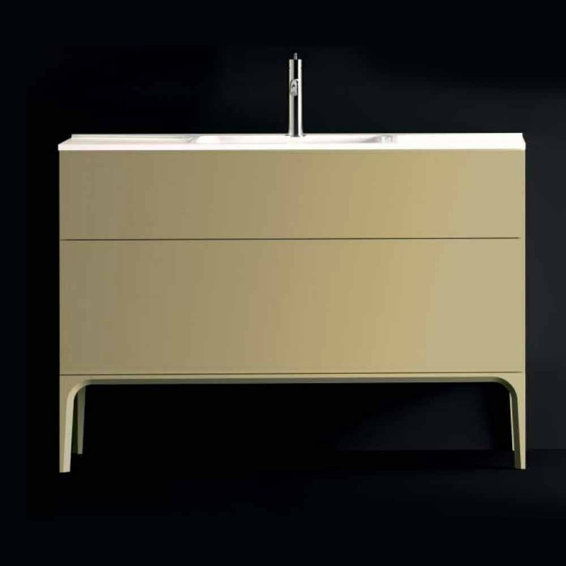 Bathroom cabinet with washbasin in lacquered wood 120x85x46cm Amber, made in Italy