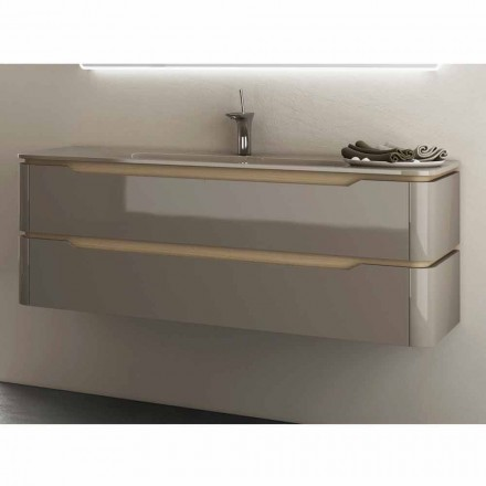 Arya modern design bathroom vanity with built-in basin, made in Italy