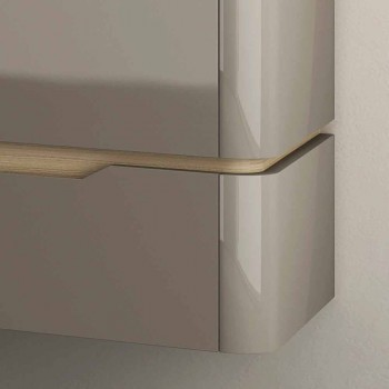 Bathroom cabinet with integrated design wooden sink Arya, made in Italy
