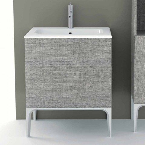 Bathroom cabinet with integrated washbasin in Ambra ecolegno, made in Italy
