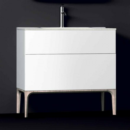 Ambra bathroom vanity with built-in basin, resin and lacquered wood