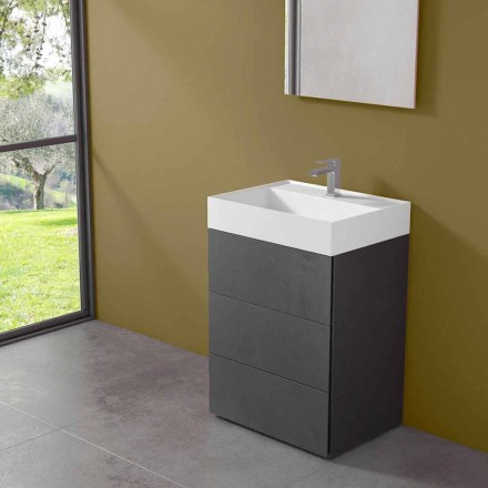 Modern Design Floor Bathroom Cabinet in Laminate with Resin Washbasin - Pompei