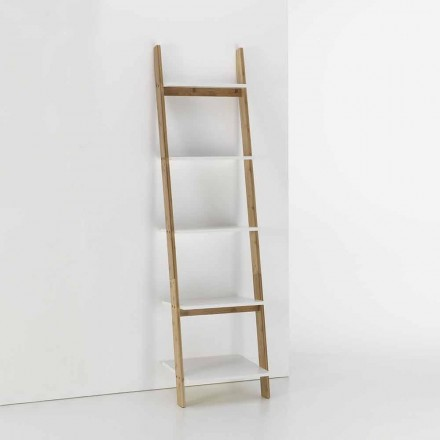 Floor Inclined Bathroom Cabinet with 5 Shelves in Bamboo and Mdf - Gianmarco