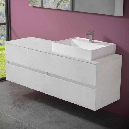 Suspended Bathroom Cabinet with Design Resin Countertop Washbasin - Alchimeo