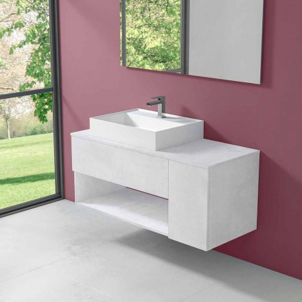 Suspended Design Bathroom Cabinet with Modern Style Countertop Washbasin - Pistillo