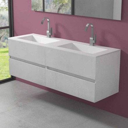 Suspended Bathroom Cabinet with Double Washbasin, Modern Design in 4 Finishes - Doublet