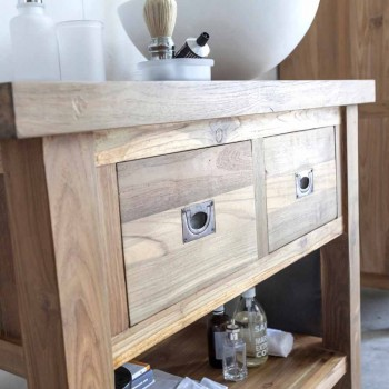 Bathroom Cabinet in Natural Teak Wood with 2 Drawers - Faetano