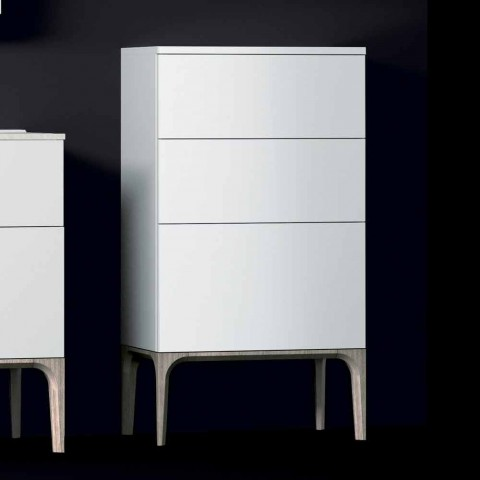 Modern bathroom cabinet with 3 drawers in Amber lacquered wood, made in Italy