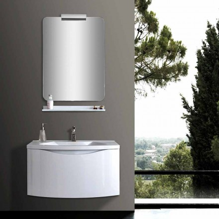 White Modern Suspended Bathroom Cabinet with Sink, Shelf, LED Mirror - Michele