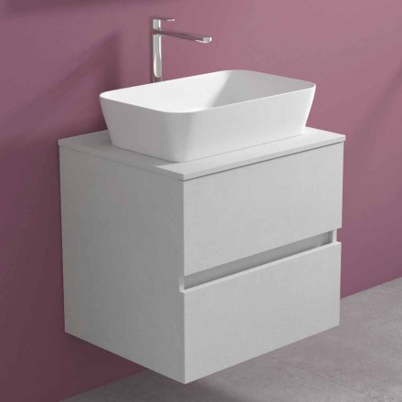 Suspended Bathroom Cabinet with Rectangular Countertop Washbasin, Modern Design - Dumbo