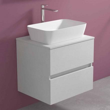 Suspended Bathroom Cabinet with Rectangular Countertop Washbasin, Modern Design - Dumbo