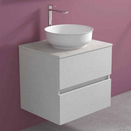 Suspended Bathroom Cabinet with Round Countertop Washbasin, Modern Design - Dumbo