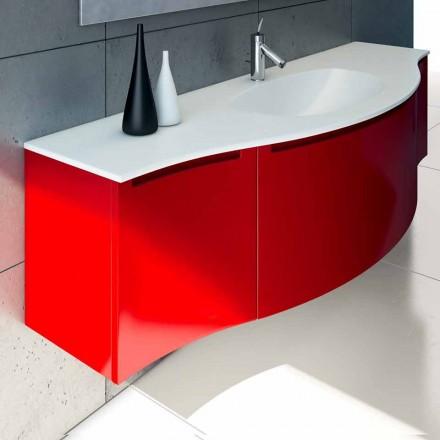 Gioia wall-hung bathroom vanity, 1 drawer and 2 doors, built-in basin