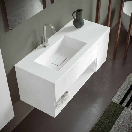 Suspended Bathroom Cabinet with Integrated Washbasin, Modern Design, 4 Finishes - Pistillo