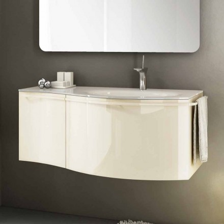 Gioia 1 modern bathroom vanity made of lacquered wood, beige colour