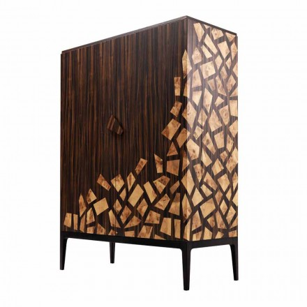 Grilli Zarafa 2-door design bar cabinet made of ebony wood in Italy
