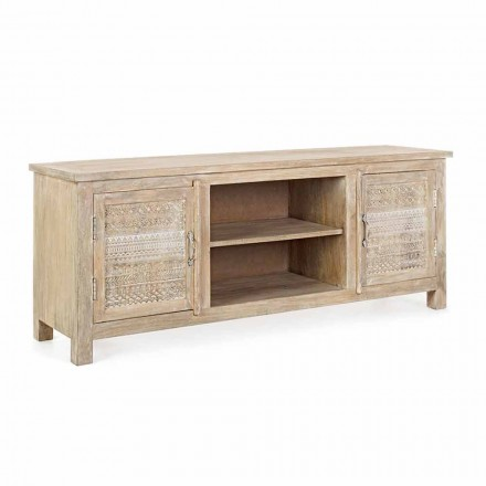 Low Cabinet in Mango Wood with Homemotion Handmade Decorations - Zotto
