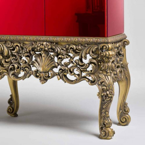 Furniture with carved wood base luxury design, made in Italy, Sam