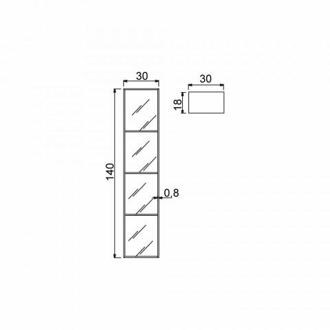 4-compartment bathroom cabinet, L300x H1400 mm, Adelia
