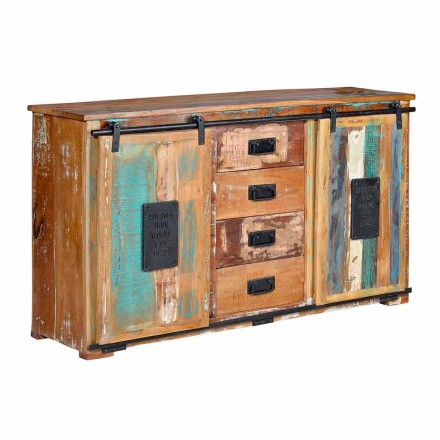 Mobile Wooden Sideboard with 4 Drawers and 2 Vintage Design Doors - Verbena