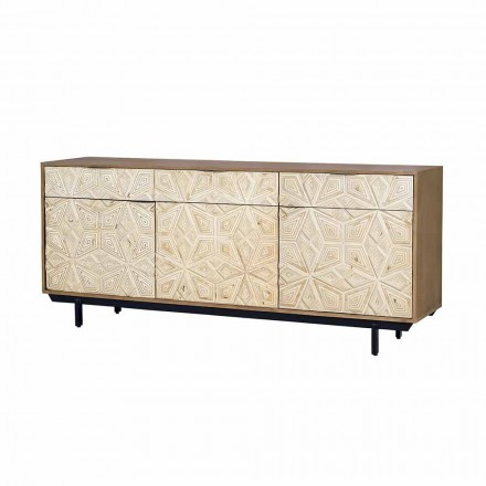 Sideboard in Mango Wood and Iron, Decorated Doors and Drawers - Eriberto