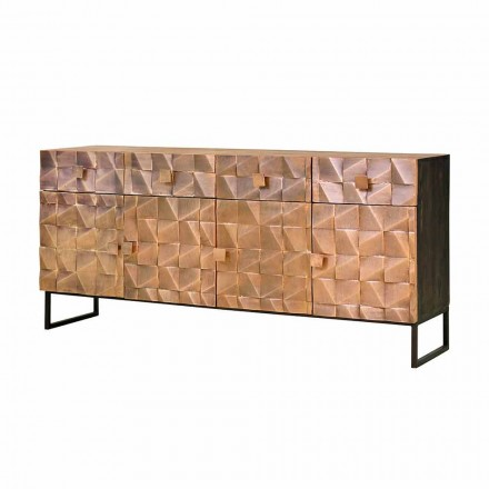 Mobile Sideboard Copper and Mango Wood with 3 or 4 Drawers and 3 or 4 Doors - Nazarena