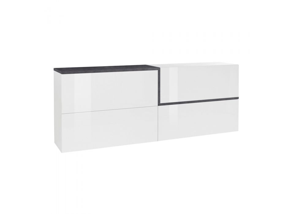 4-Door Living Room Sideboard in White Wood and Maple or Slate - Tiscali