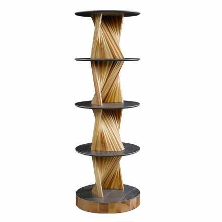 Luxury Wooden Cabinet with Round Stoneware Shelves Made in Italy - Aspide