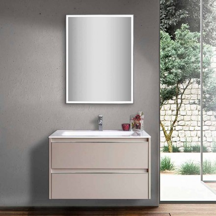 Dove Gray Bathroom Washbasin in Wood and Mineralmarble with LED Mirror - Alfonso