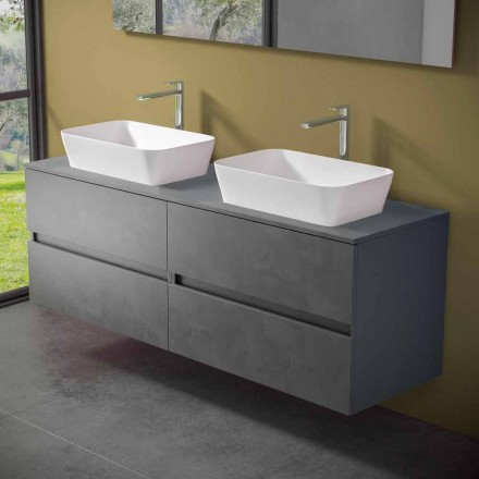 Suspended Bathroom Cabinet with Double Countertop Washbasin - Mandrillo