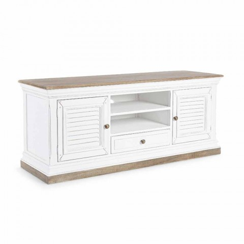 Classic TV Stand in Wood and Mdf with Cast Iron Handles Homemotion - Baffy