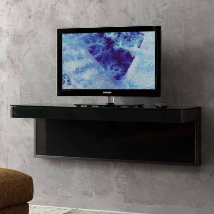 Wall TV Cabinet in Black Crystal and Metal Made in Italy - Americio
