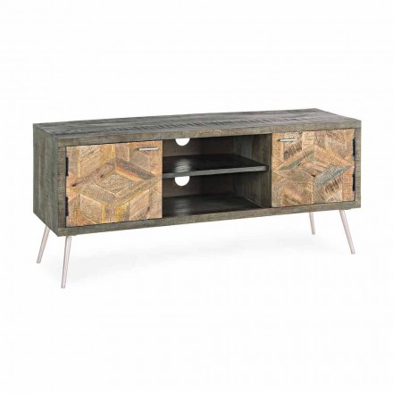 TV stand in wood with handles and feet in steel Homemotion - Adiva