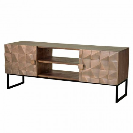 TV Cabinet in Mango Wood and Copper Single Piece Handcrafted - Nazarena