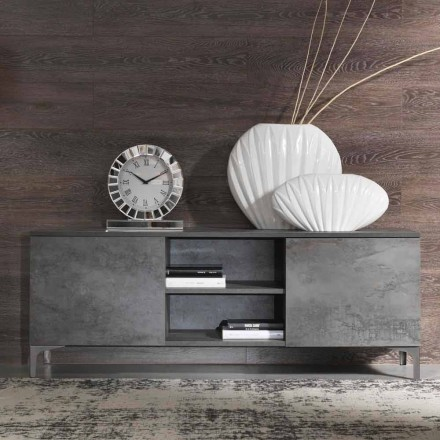 Modern Tv Cabinet Melamine Wood Two Doors Made in Italy – Clemente