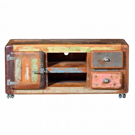 Vintage Style Recycled Wood TV Stand with 2 Drawers - Wallaby