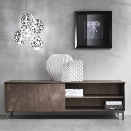 Modern Tv Cabinet Two Doors Melamine Wood Made in Italy – Clemente