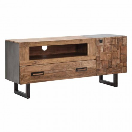 Modern Tv Stand in Iron and Acacia Wood with Drawer and Door - Deanna