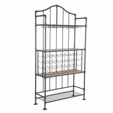 Modern Industrial Style Food Holder in Iron and MDF - Armelia