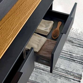 Luxury Modern Design Bathroom Furniture in Natural Wood and Black - Alide