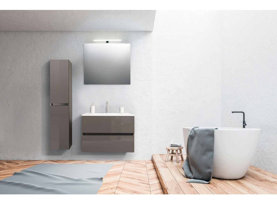 Suspended Bathroom Furniture in Mdf Lacquered Made in Italy - Becky