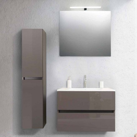 Bathroom Cabinet 80 cm, Wash Basin, Mirron and Ecru Column –  Becky